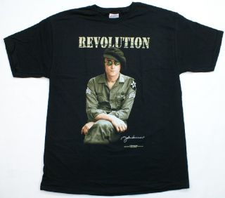 John Lennon Revolution Imagine The Beatles T Shirt Black Rock Roll Music