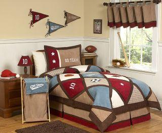 JoJo Designs Red Blue Brown All Star Sports Kid Boy Full Queen Sized Bedding Set