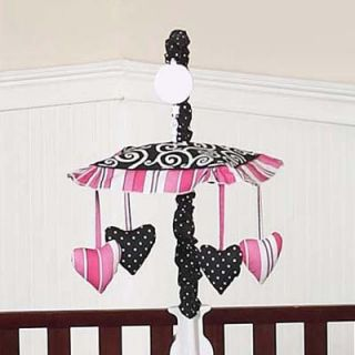 Sweet JoJo Designs Musical Mobile for Pink Black Madison Baby Crib Bedding Set