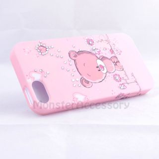 PINK JOLLY BEAR GEM BLING HARD CASE COVER FOR APPLE IPHONE 5 5G