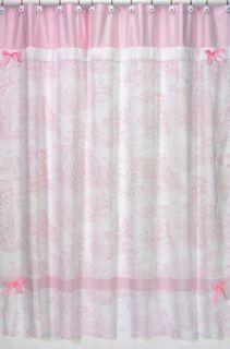 JoJo Designs Pink Toile Chenille Gingham Shower Curtain