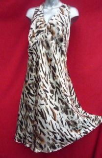 Lane Bryant Busty Animal Print Satiny 100 Silk Dress Size 22 22W 3X Plus