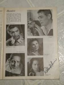 Peter O'Toole Hamlet Theatre World 1963 Signed by Rosemary Harris