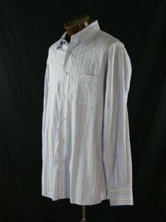 John W  White Blue Gray Cotton Striped Casual Shirt Size L ST642SB