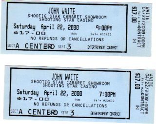 John Waite Unused Tickets 2000 Collectors Item