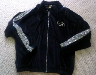 Men's Korn Soft Jonathan Davis Track Jacket with Silver Sequins Size L