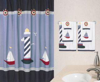 JoJo Designs Navy Blue Come Sail Away Lighthouse Boat Beach Kid Shower Curtain