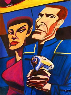 Star Trek Painting USS Enterprise Science Fiction Bakula Jolene Blalock Phaser |