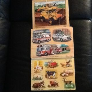 Melissa and Doug John Deere wooden puzzles Lot of 3 Farm Animals Tractor Ve