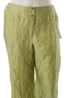 Jones New York Collection New Plus Size Capri Pants Green Crinkled 18W