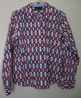 Jones New York Signature Womens Top Blouse Shirt White Red Blue Chains Size PL
