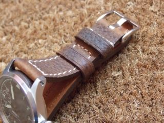 High Quality Genuine Italian Oiled Leather Watch Strap Brown 22mm Wide