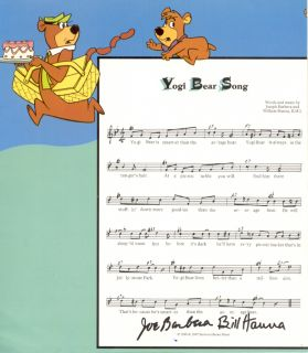 Hanna Barbera Yogi Bear Song Autographed
