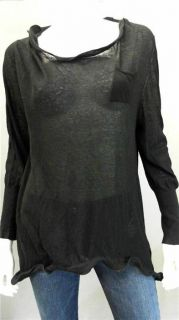 Jonathan Simkhai L S Wire Tee Misses M Long Sleeve Shirt Top Black Solid Blouse