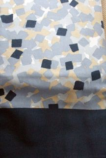 Cotton Fabric Blue Grey Beige White Mosaic Pattern Dot Shower Curtain New