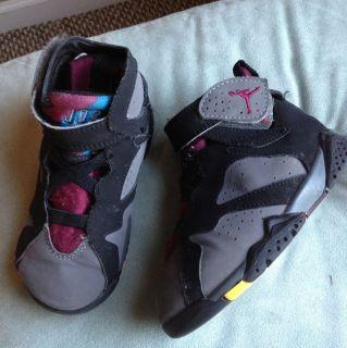 Nike Air Jordan 7 VII Black Bordeaux Sneakers Infant Toddler Shoes Size 8 Unisex