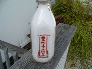 Johnstown Sanitary Dairy Red Lettered Quart Milk Bottle Cambria County PA |