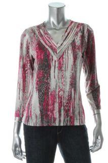 Jones New York NEW Multi Color Pleated V Neck Dress Top Blouse Shirt M BHFO
