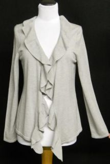 TALBOTS Size M Heather GRAY Merino Wool RUFFLE Drape CARDIGAN Sweater PERFECT