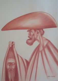 RAFAEL CORONEL SANGUINEA ON PAPER MAN WITH HEAD SIGND
