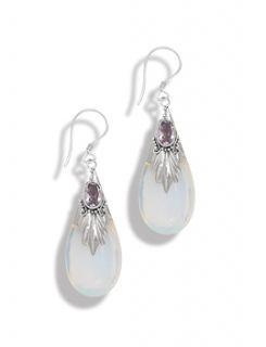 Sterling Silver Purple Genuine Amethyst Clear White Glass Pierced Earrings New