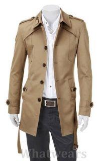 JJ Mens Slim Fit Front Button Stylish Trench Coat Jacket 4Color 4Size C4005