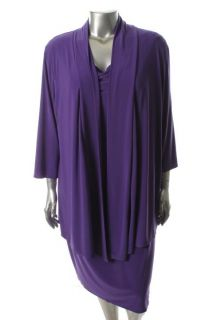 Jones New York New Purple Matte Jersey Pull on Dress with Mock Jacket Plus 18W