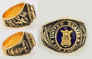 Size 14 J Esposito 14kt YGP Mens US Air Force Ring w Gold Leaf Emblem