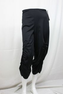 Joseph Ribkoff Black Stretched Satin Ruched Capri Cropped Pants Sz 4 6 10 12 14