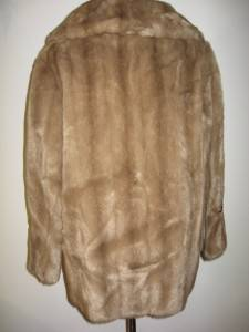 VTG DUBROWSKY JOSEPH DIAMONTE FAUX MINK FUR LEATHER COAT