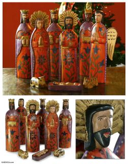 REJOICE Wood Nativity Scene HAND CRAFTED PAINTED Set of 9 Large 15 Tall Pc s |