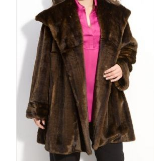 Jones New York Faux Fur Swing Women's Coat Winter Jacket Plus L XL1X 2X 3X $376