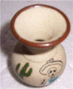 Miniature Tonala Mexico Native Latino Pottery Vase Signed Tijuana Mexico