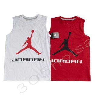 $24 Nike Jordan Boy's Youth Sleeveless White Red T Shirt Size M 10 12y