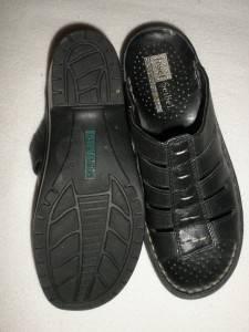 JOSEF SEIBEL Black Leather Slides Sandals Shoes Comfort 37 6 6 5