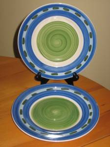 2 Joshua Maxwell Studio Side Salad Plates Blue Green