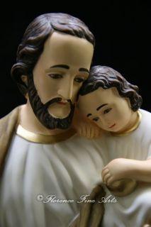 Large Saint Joseph w Jesus Italian Statue Sculpture Figurine Vittoria Catholic