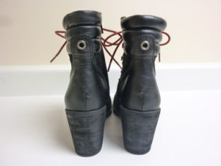 Lucky Brand Joss heeled Hiking Boots Black Suede Leather Lace Up Womens 10 New