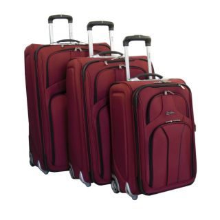 Jourdan Lightweight 3 Piece Expandable Upright Rolling Luggage Set Red