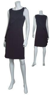 Josie Natori Classic Black Stretch Knit Draped Cocktail Eve Dress Small New