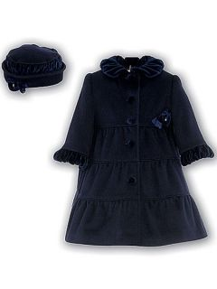 Sarah Louise Toddler Navy Ruffle Trim Dress Coat Hat 240