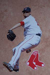 Josh Beckett Mini Fathead Boston Red Sox Logo MLB New