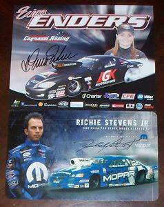Erica Enders Richie Stevens Jr GK Motorsports Mopar Pro Stock NHRA Signed