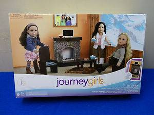 Journey Girls Ski Lodge Fireplace Chairs Table TV More for American Girl New