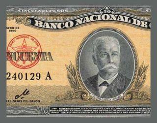 50 Pesos Banknote Cuba 1960 Che Guevara Signature AU