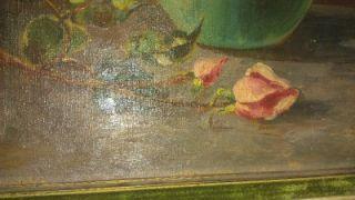 Italian American Listed Artist John Califano Still Life Flowers Vase Pink Roses