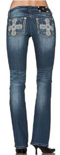 Miss Me JP6135B Cross with Lace Lowrise Stretch Boot Cut Jeans