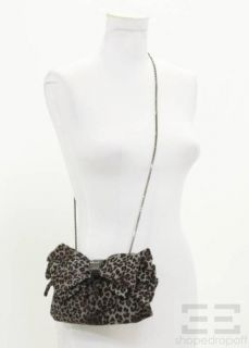 Judith Leiber Grey Leopard Print Pony Hair Chain Strap Bow Clutch NEW