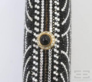 Judith Leiber Black White Scalloped Swarovski Crystal Minaudiere Box Clutch