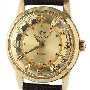 Jovial Gold Color Stainless Steel Swiss Made Mechanical Hand Winding Men's Watch